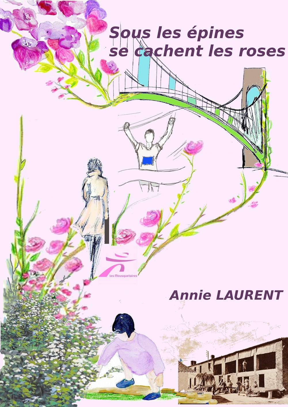 Dessins roses, épines, pont